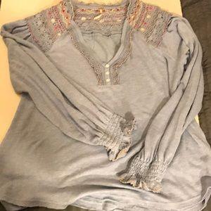 Free people poly/ rayon /cotton shirt